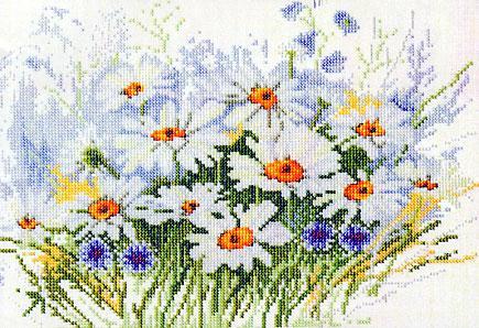 вышивка цветов крестиком