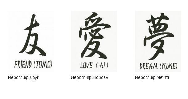 Иероглифы - Бесплатные схемы