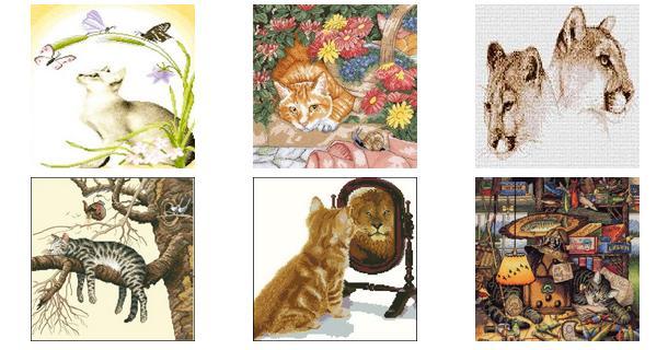 Вышиваем крестиком кошек, схемы вышивки